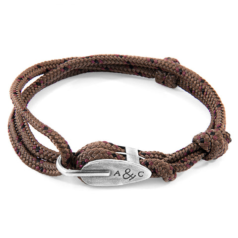 Brown Tyne Silver and Rope Bracelet