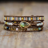 LEATHER BRACELET WITH LABRADORITE AND RHINESTONE