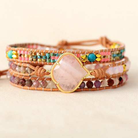 LEATHER WRAP BRACELET WITH ROSE QUARTZ