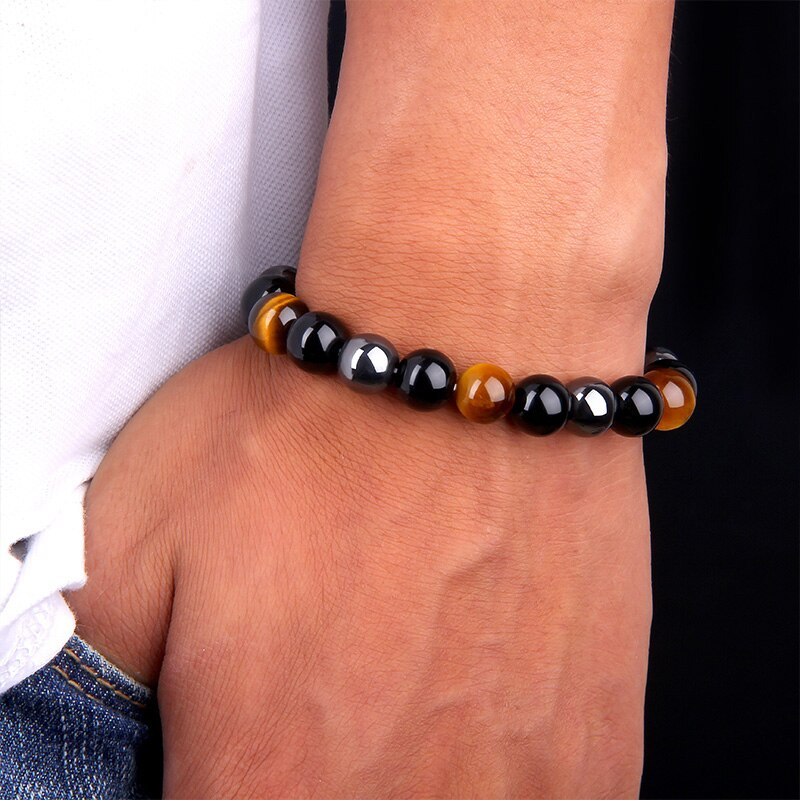 THREE-STONE BRACELET WITH TIGER EYE, HEMATITE AND BLACK OBSIDIAN