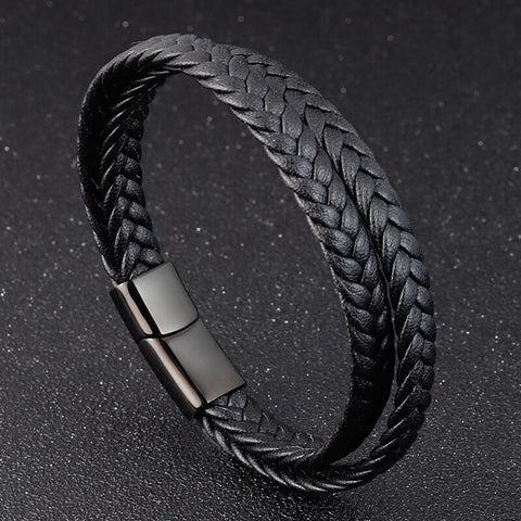 Multi-layered Handmade Braided Leather Wristband