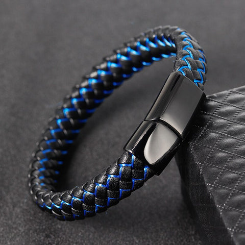 Black and Blue Double Layer Wristband