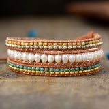 LEATHER WRAP BRACELET WITH FRESHWATER PEARL