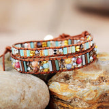 BOHO WRAP BRACELET WITH NATURAL STONES AND CRYSTALS
