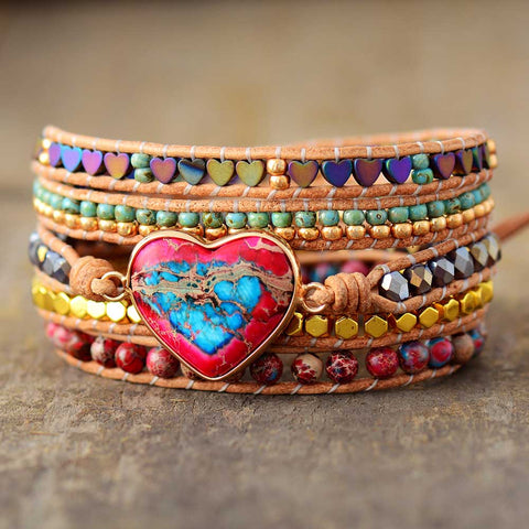 COLOURED HEART WRAP BRACELET