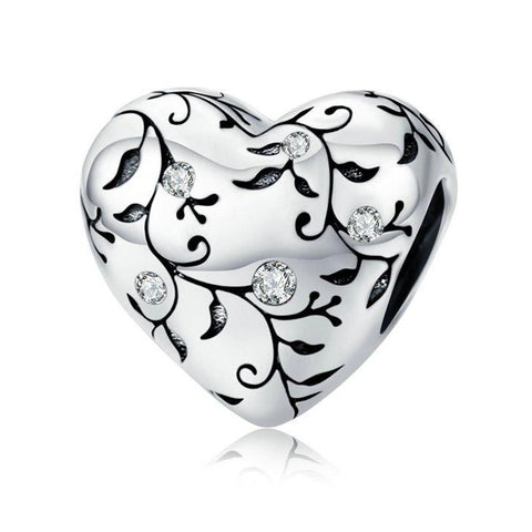 BRANCH PATTERNED HEART Sterling Silver Charm