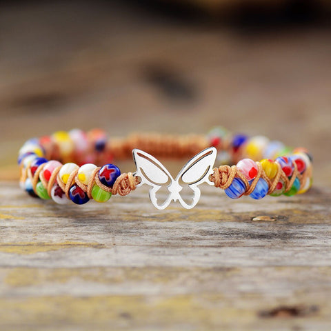 BUTTERFLY CHARM BRACELET WITH COLOURED STONES