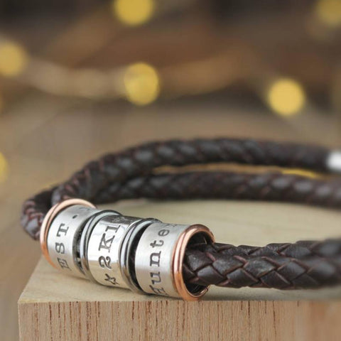 Leather and Silver Story Bracelet
