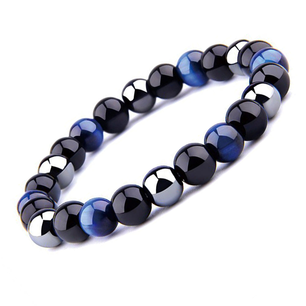 THREE-STONE BRACELET WITH DARK BLUE TIGER EYE, HEMATITE AND BLACK ONYX