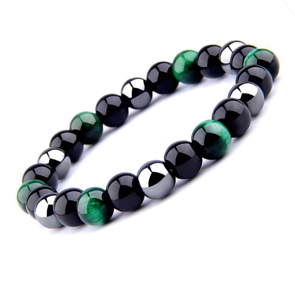 THREE-STONE BRACELET WITH GREEN TIGER EYE, HEMATITE AND BLACK ONYX