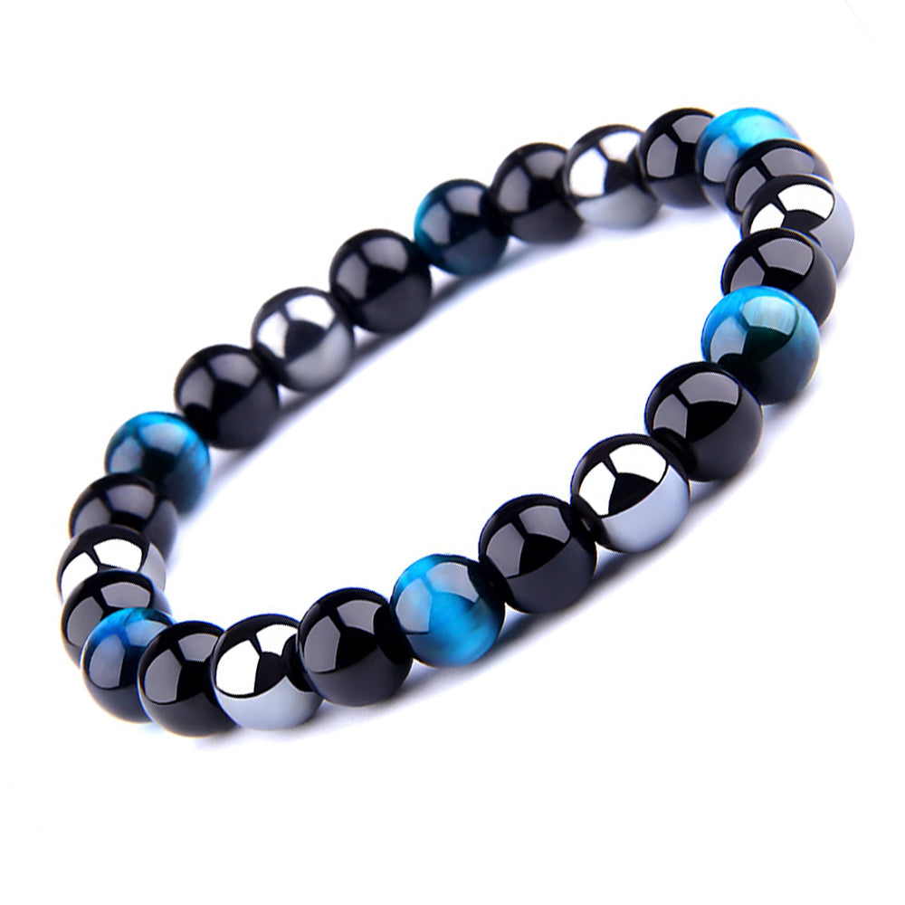THREE-STONE BRACELET WITH AZURE TIGER EYE, HEMATITE AND BLACK ONYX
