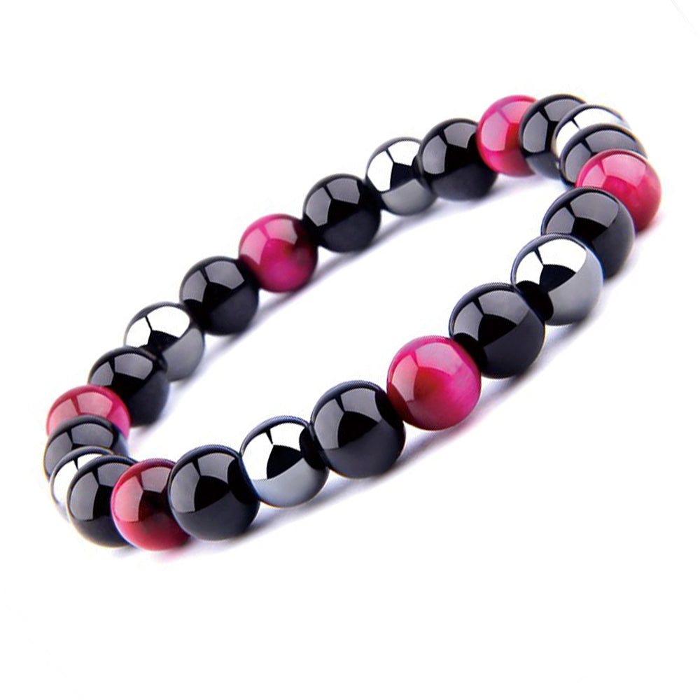 THREE-STONE BRACELET WITH CERISE TIGER EYE, HEMATITE AND BLACK ONYX