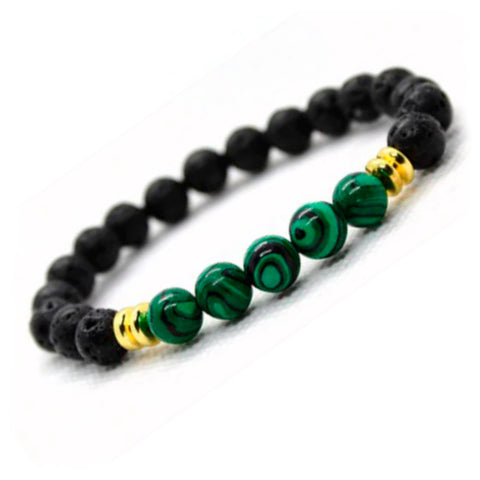 BRACELET WITH LAVA STONE AND GREEN MALACHITE