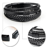 Black Leather Multilayer Bracelet with Black Clasp
