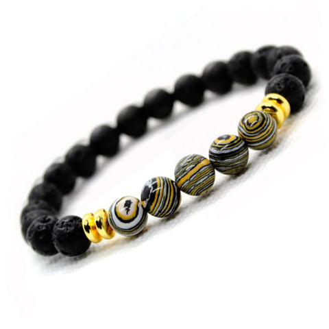 BRACELET WITH LAVA STONE AND BLACK-GOLD MALACHITE