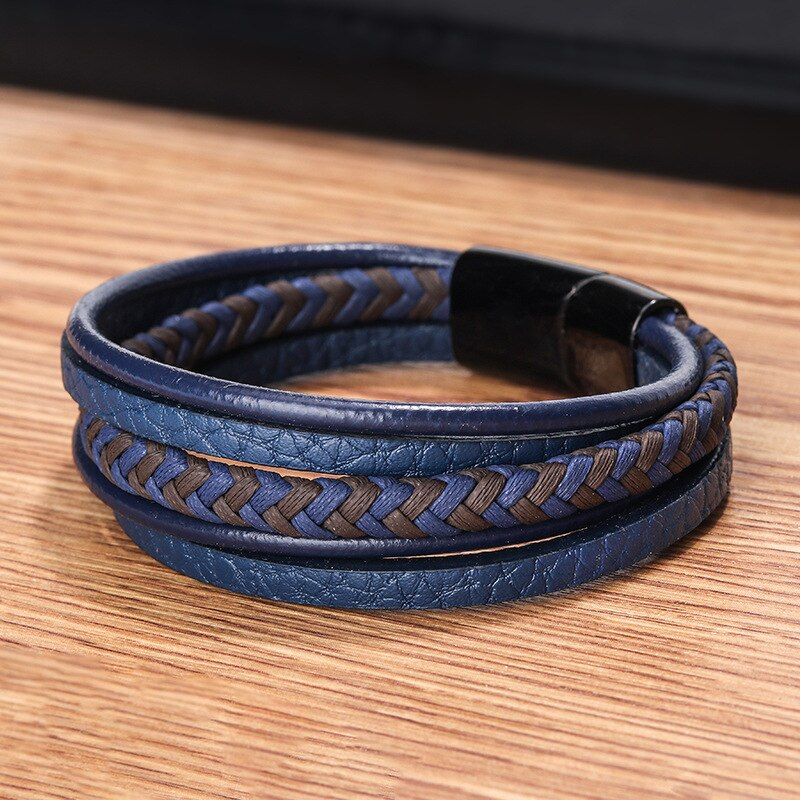 Blue-Black Leather Multilayer Bracelet with Black Clasp