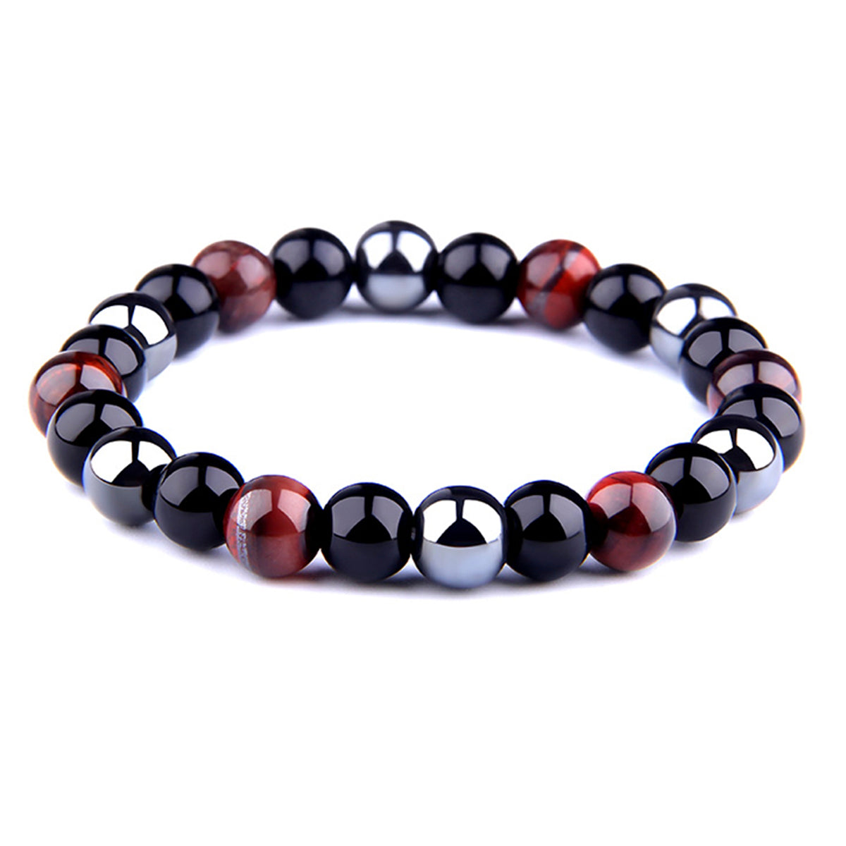 THREE-STONE BRACELET WITH DARK RED TIGER EYE, HEMATITE AND BLACK ONYX