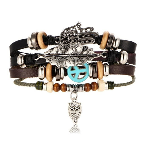 NIGHT OWL Multilayer Vintage Leather Wrap Bracelet