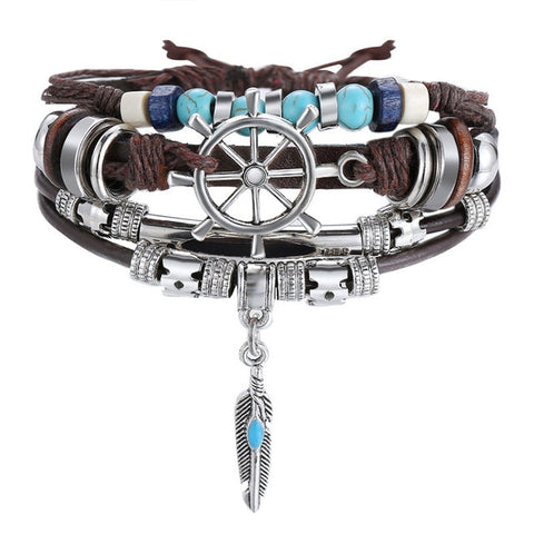VOYAGER Multilayer Vintage Leather Wrap Bracelet