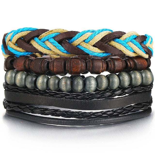 BLACK 'N' BLUE Multilayer Vintage Leather Wrap Bracelet