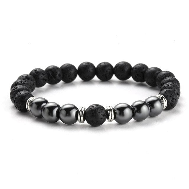 TWO-STONE BRACELET WITH BLACK LAVA STONE AND HEMATITE