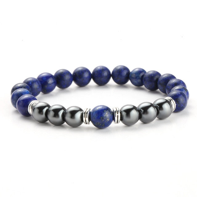 TWO-STONE BRACELET WITH LAPIS LAZULI AND HEMATITE