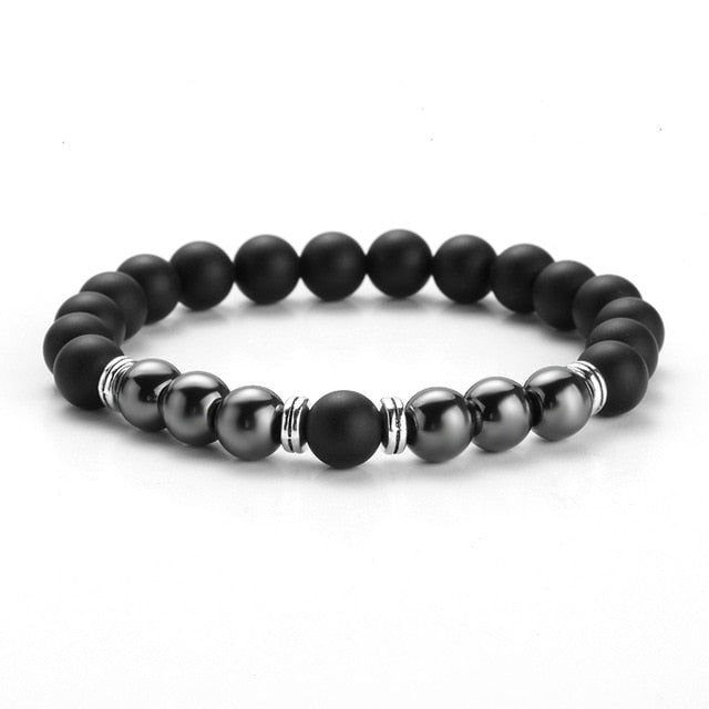 TWO-STONE BRACELET WITH MATT BLACK AGATE AND HEMATITE