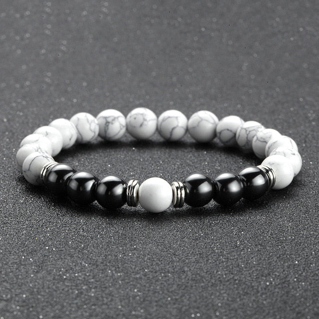 TWO-STONE BRACELET WITH WHITE TURQUOISE AND HEMATITE