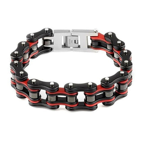 Black/Red Motorcycle Chain Bracelet