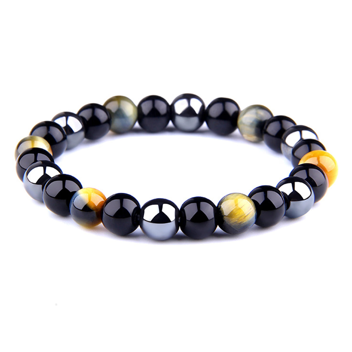 THREE-STONE BRACELET WITH AMBER GOLD TIGER EYE, HEMATITE AND BLACK ONYX