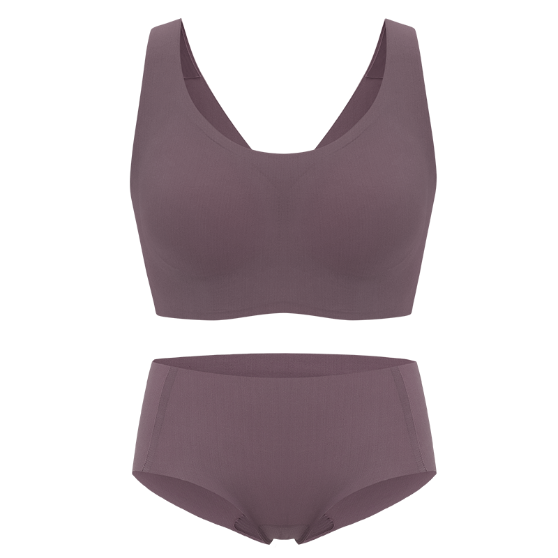NEIWAI's Barely Zero bra and brief set in purple dove.