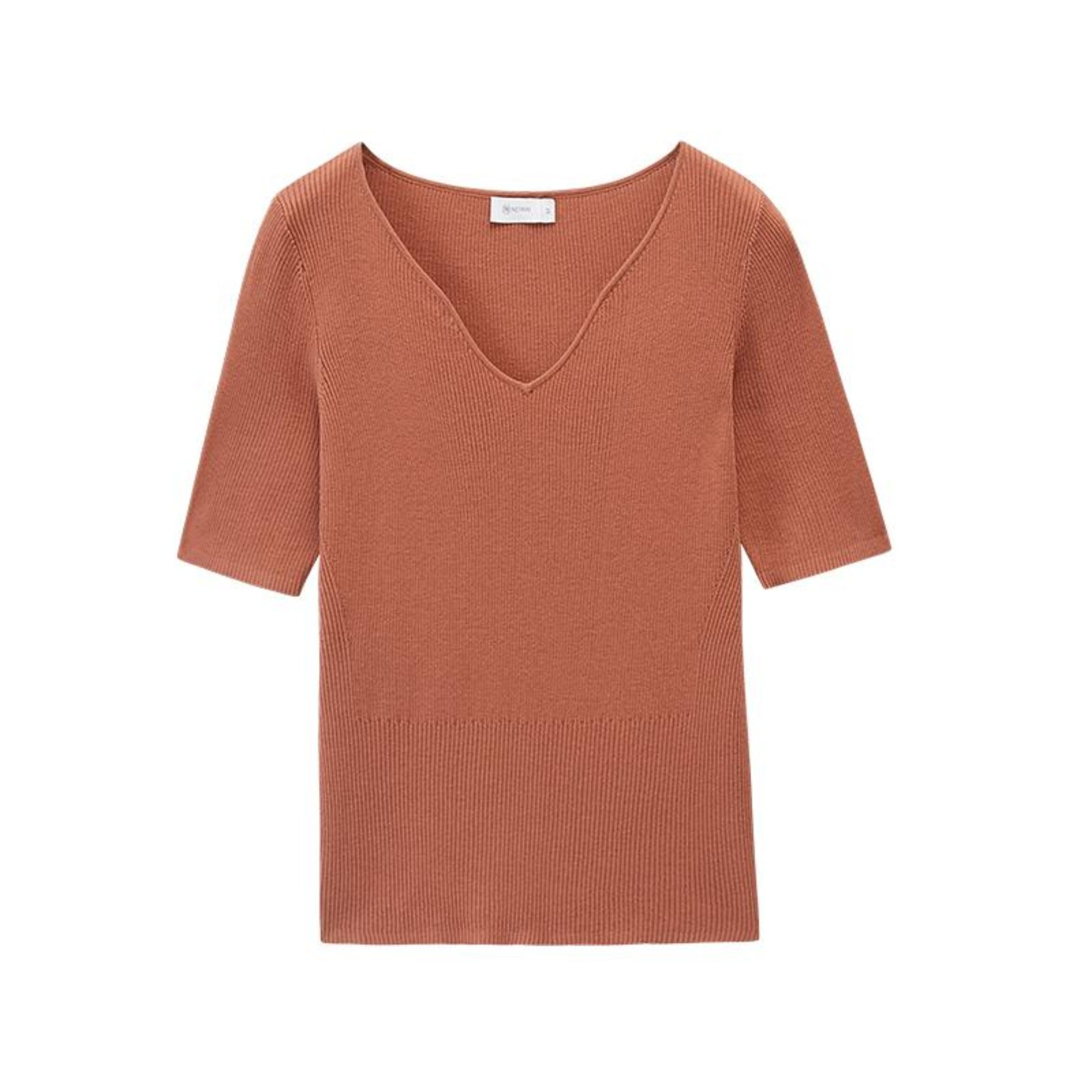 NEIWAI's Pure Simplicity Silk Blend V-neck Short Sleeve Top in Autumn Leaf.