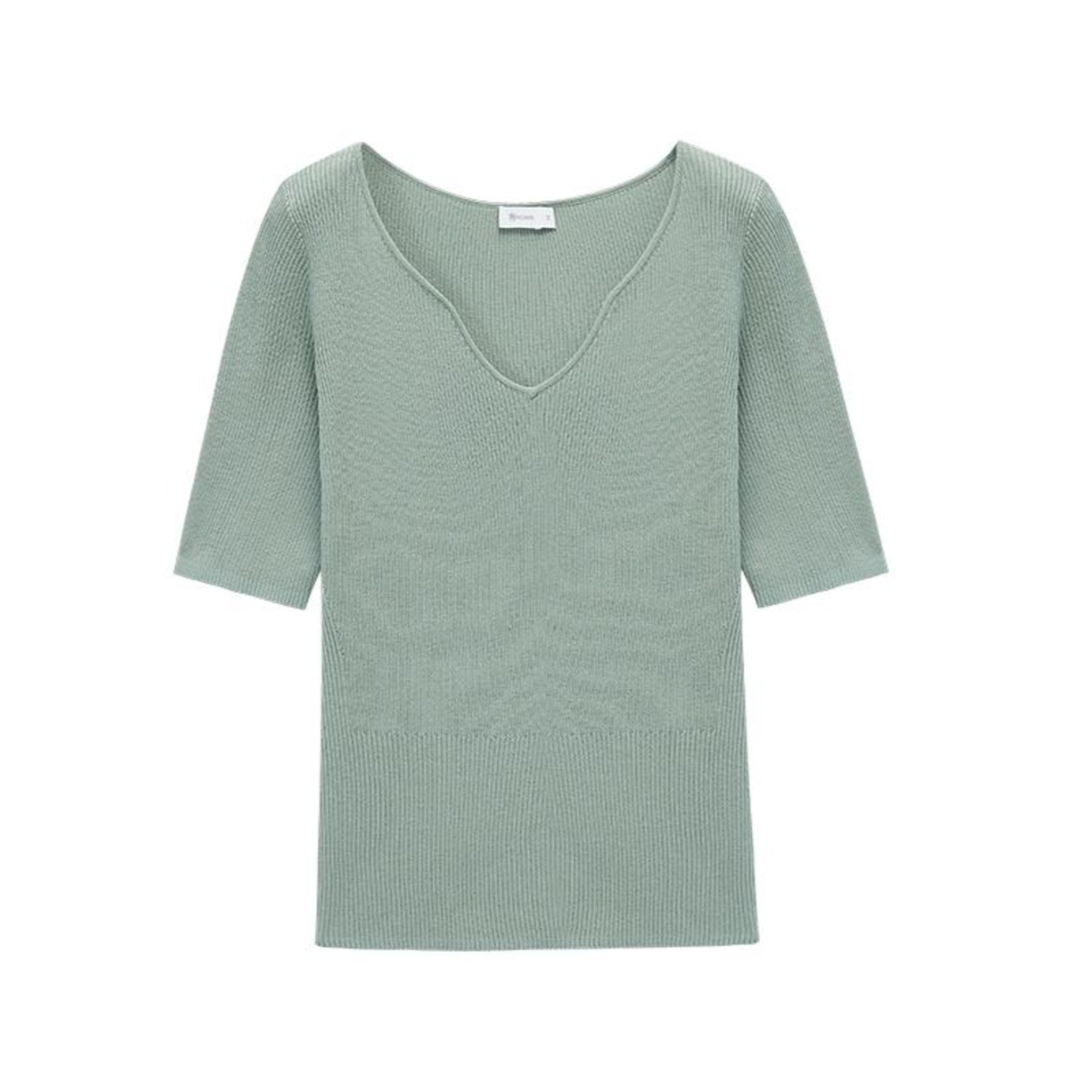 NEIWAI's Pure Simplicity Silk Blend V-neck Short Sleeve Top in Cascade.