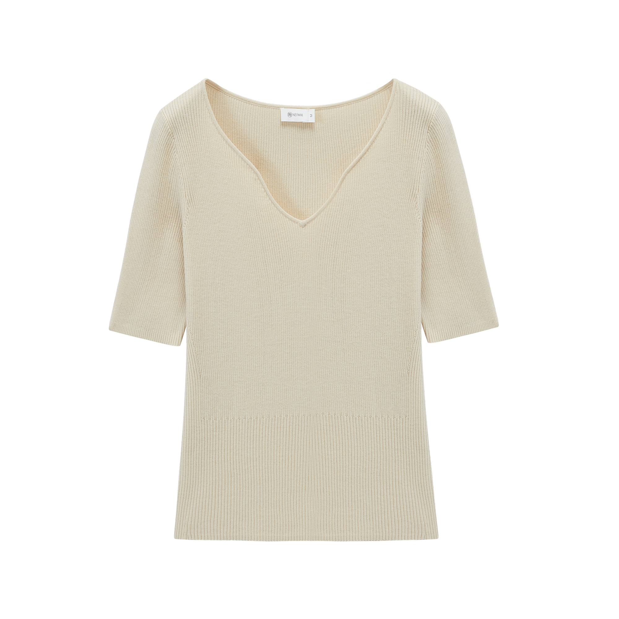 NEIWAI's Pure Simplicity Silk Blend V-neck Short Sleeve Top in Sand Dollar.
