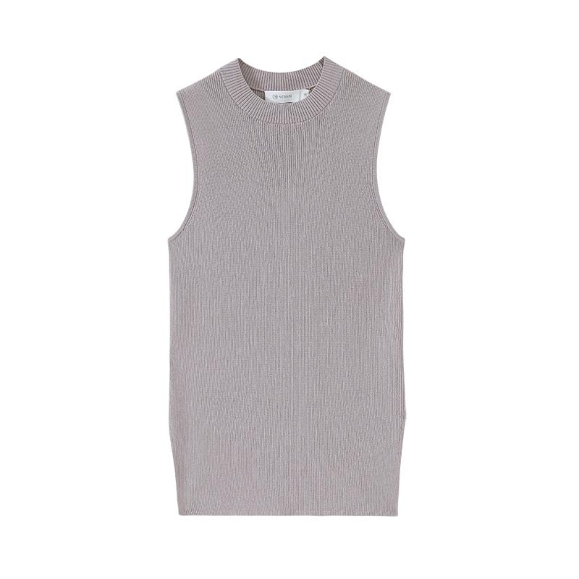 NEIWAI's Knitted Sleeveless Mock Neck Tank Top in Serenity.