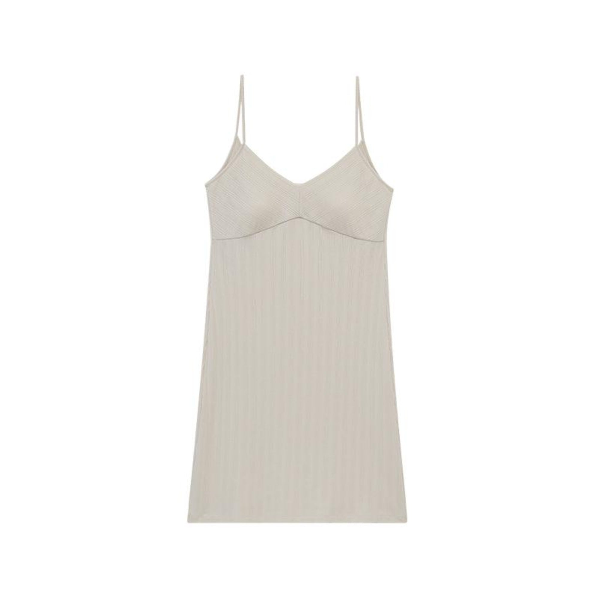 NEIWAI's Laid Back Ribbed V-tie Padded Slip Dress in Soft Pink.