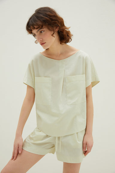 NEIWAI Cotton Pleated Short-Sleeved Pajamas in Mojito