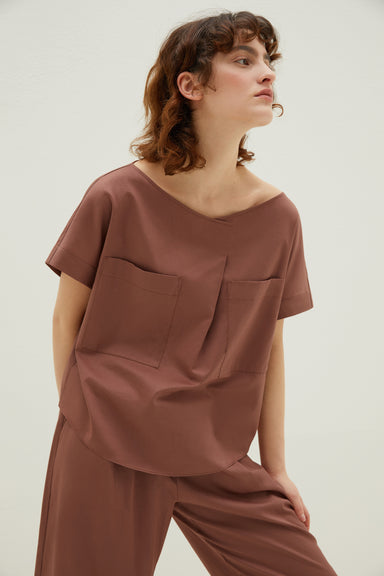 NEIWAI Cotton Pleated Short-Sleeved Pajamas in Hazelnut