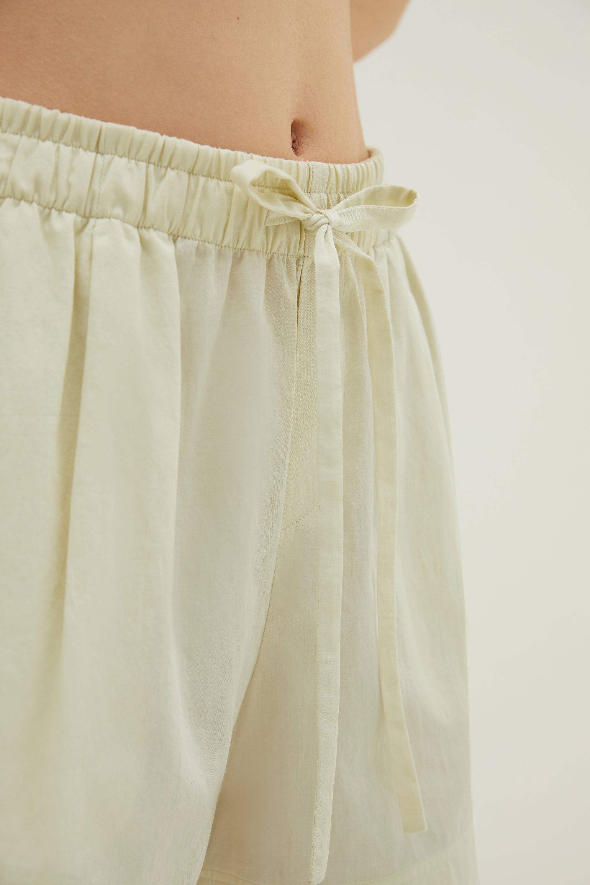 NEIWAI Cotton Sleep Shorts in Mojito. Adjustable waistline