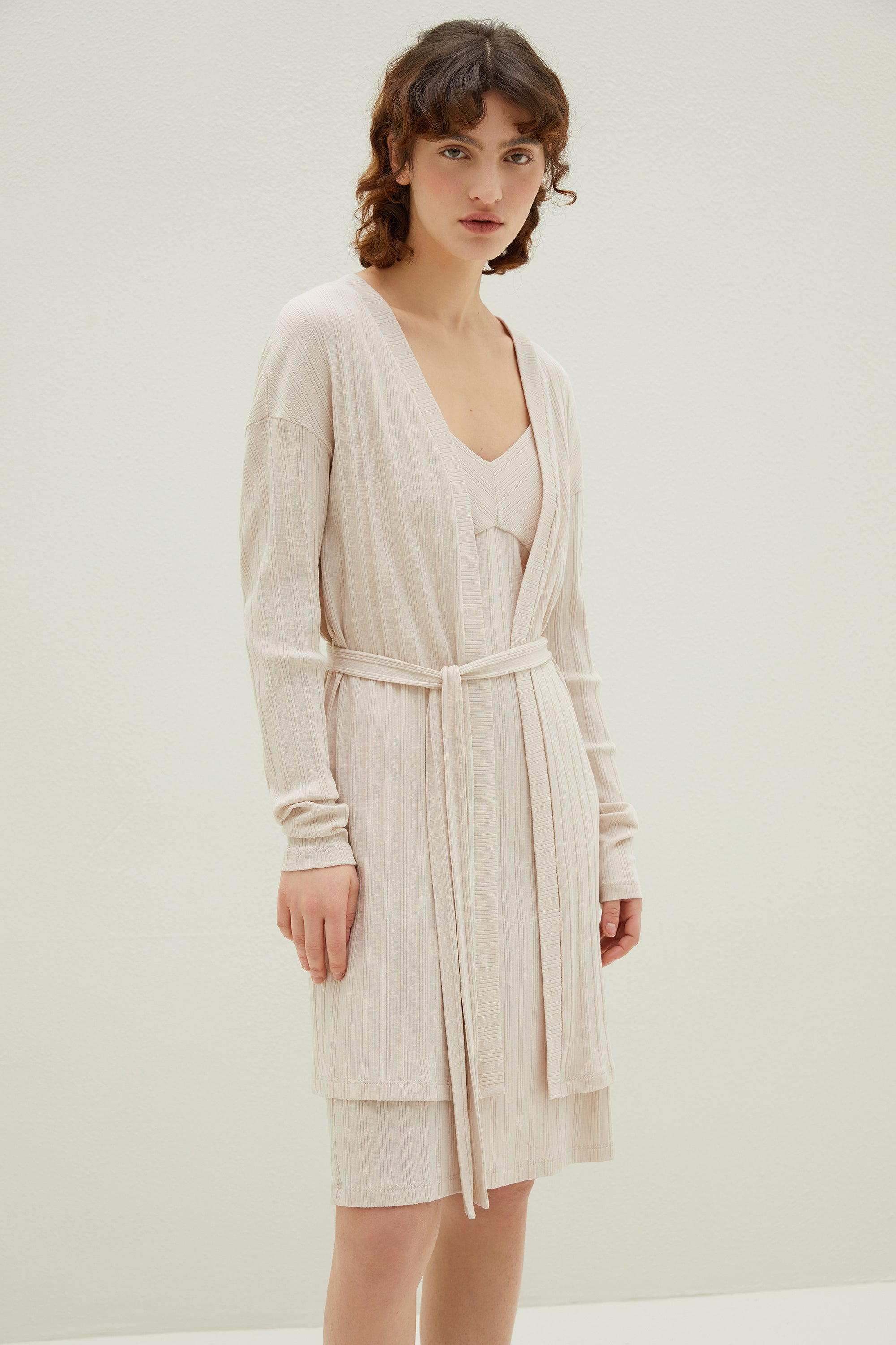 NEIWAI 3/4 Ribbed Cardigan in Soft Pink