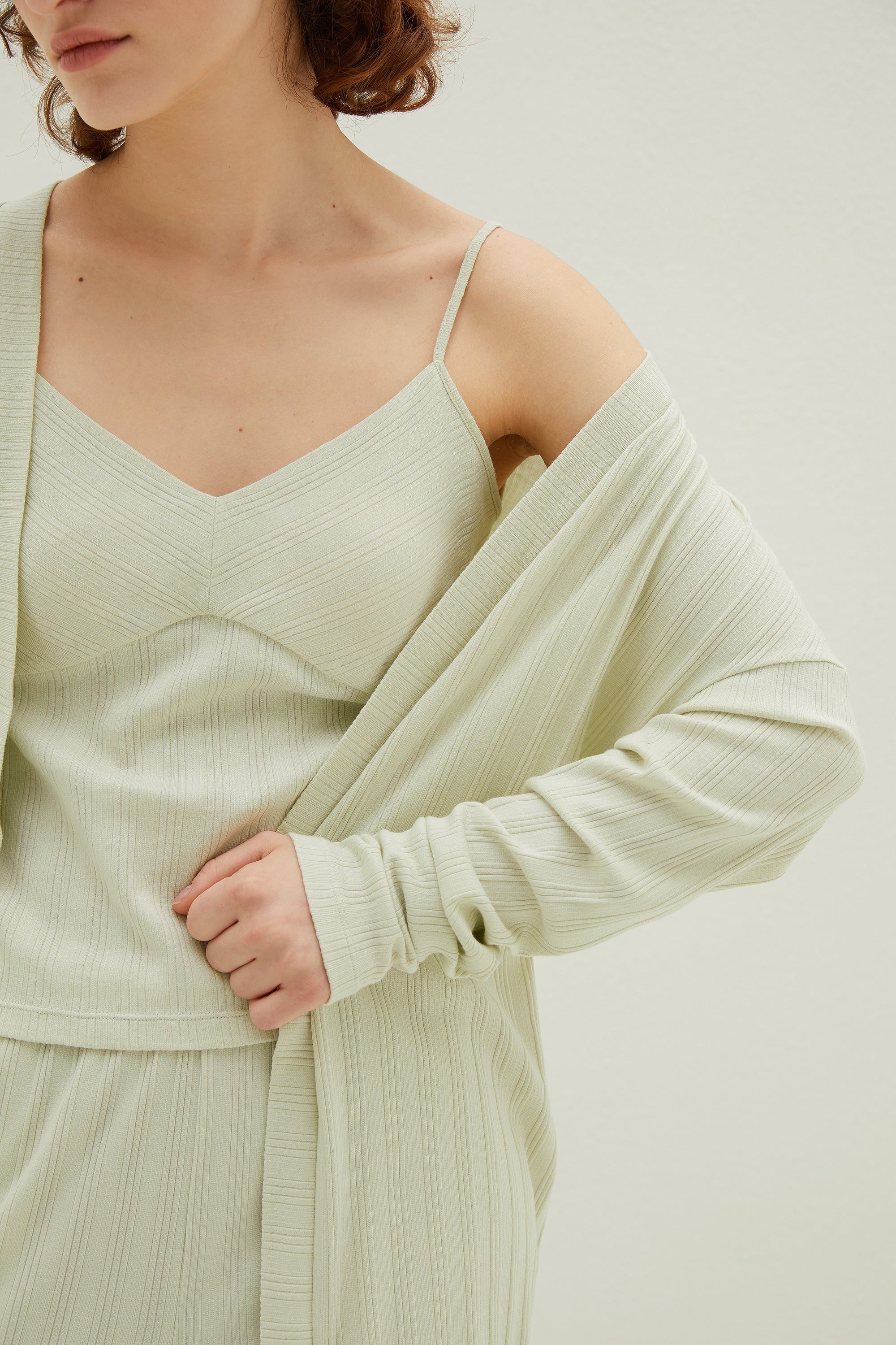 NEIWAI 3/4 Ribbed Cardigan in Mojito