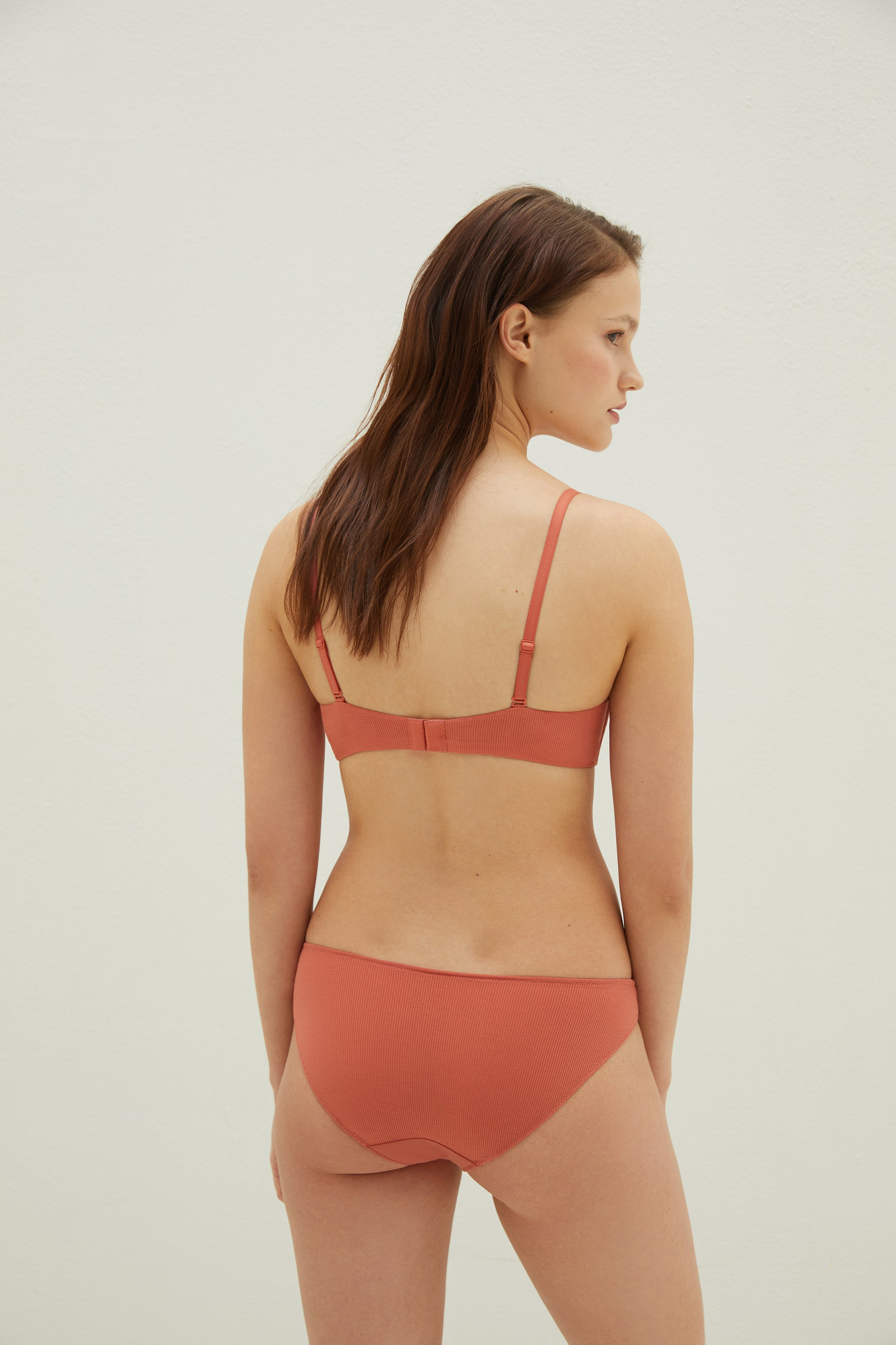 NEIWAI Ribbed Cross Front Long Triangle Bra in Orange. Adjustable Band