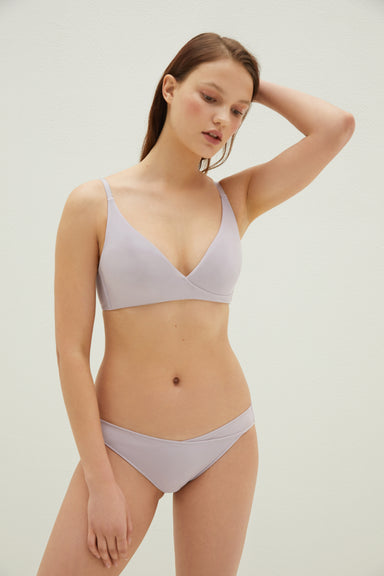 NEIWAI Ribbed Cross Front Long Triangle Bra in Lavender