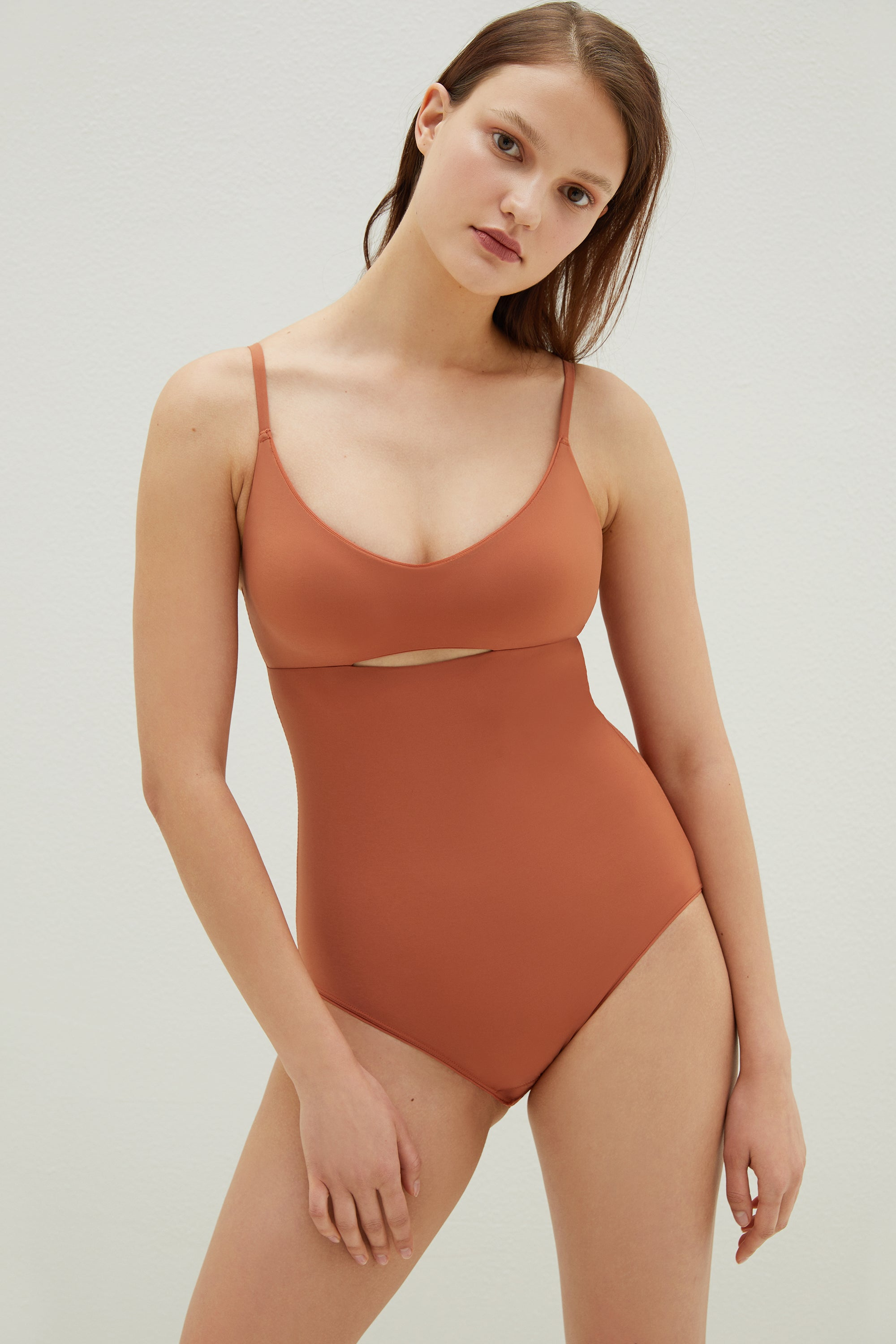 NEIWAI Striped Mesh Bodysuit in Tanned Orange