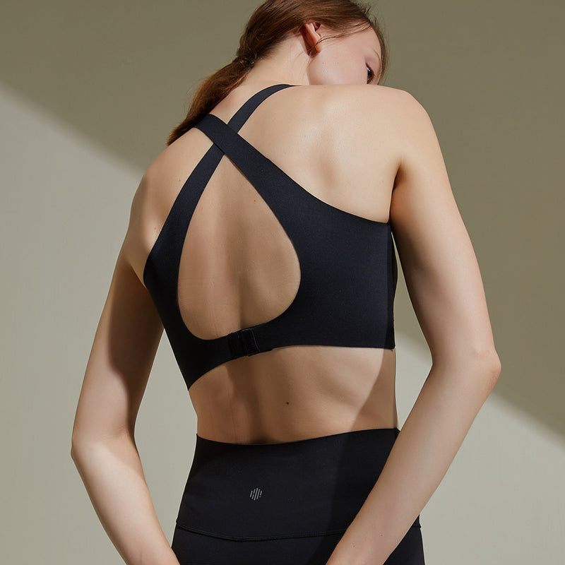 NEIWAI ACTIVE Cross Back Sports Bra in Black. Crossed Soft Straps