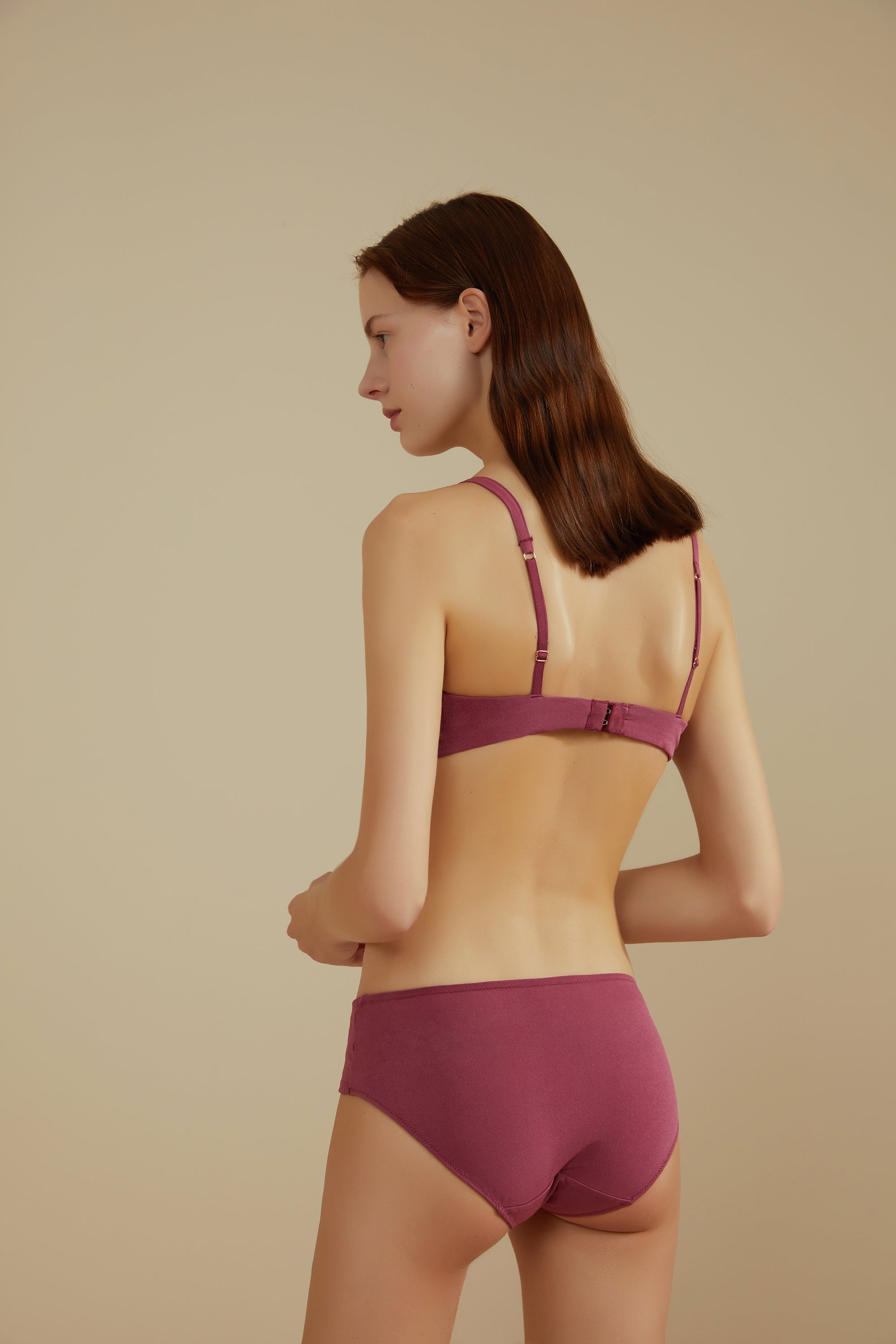 NEIWAI Leavers Lace Triangle Bra in Amaranth. Adjustable Straps and Band