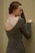 Model wearing NEIWAI's Boundless Cotton Backless Dress in Gunmetal.