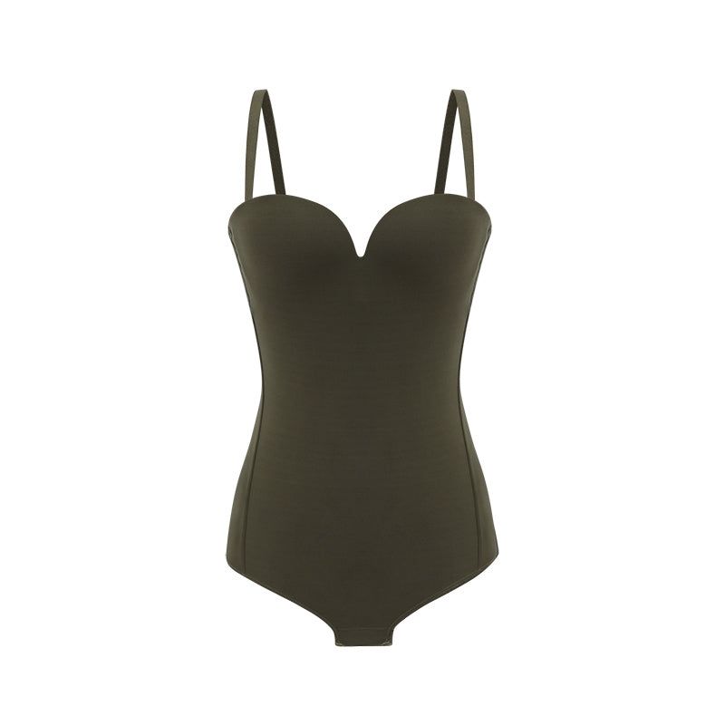 NEIWAI's Pure Beauty Matte Plunged V-back Bodysuit in Olive.