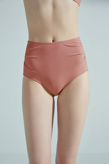 NEIWAI ACTIVE High Waist Ruched Side Bikini Bottom in Dusty Rose