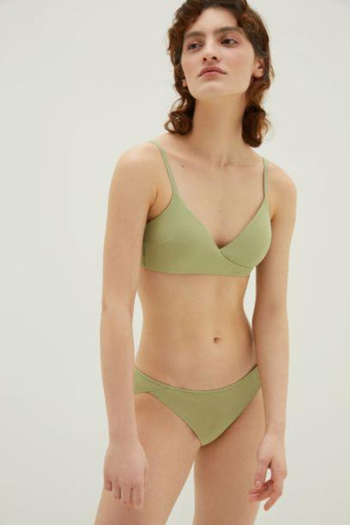 NEIWAI Ribbed Cross Front Triangle Bra in Avocado
